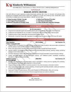 Example of a Professional Resume - Art Director